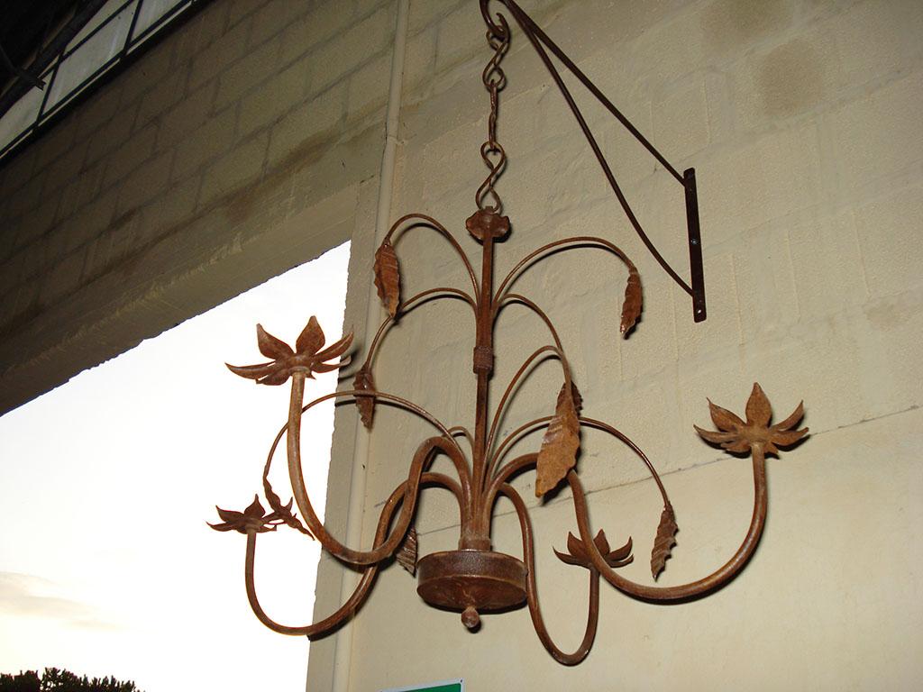 LAMPADARIO in ferro mod. Foglia 4 fiamme