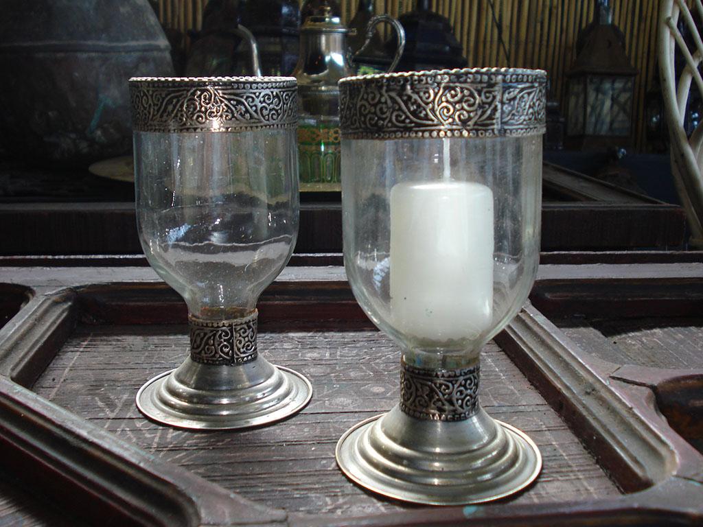 PORTACANDELE mod. Bicchiere vetri colorati