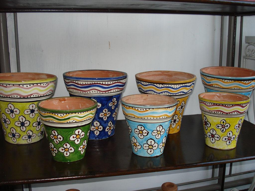 VASO mod. Fiori  ceramicato dipinto a mano